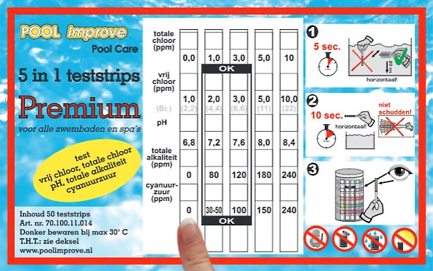 5 in 1 zwembadwater teststrip gebruiksaanwijzing