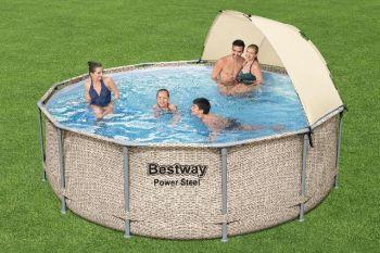 Bestway Zwembad power steel set rond rotan 396 x 107