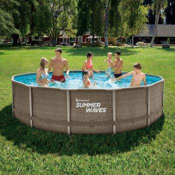 Summer Waves Zwembad Elite Frame 427 X 107 CM Dark Triple Basketweave +FILTERPOMP