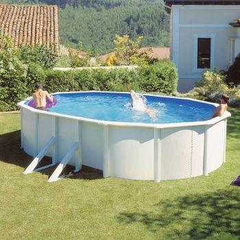 Ovaal zwembad stalen wand opbouw