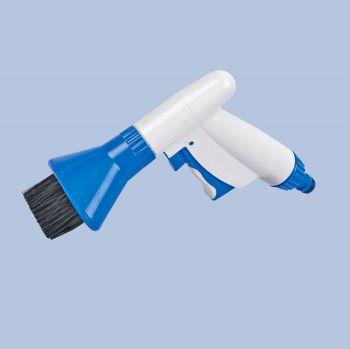 Cardridge filterreiniger voor op tuinslang met borstel